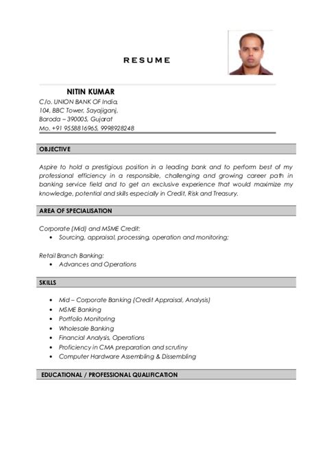 Credit Cv Template Nitin Kumar Resume Credit Analyst