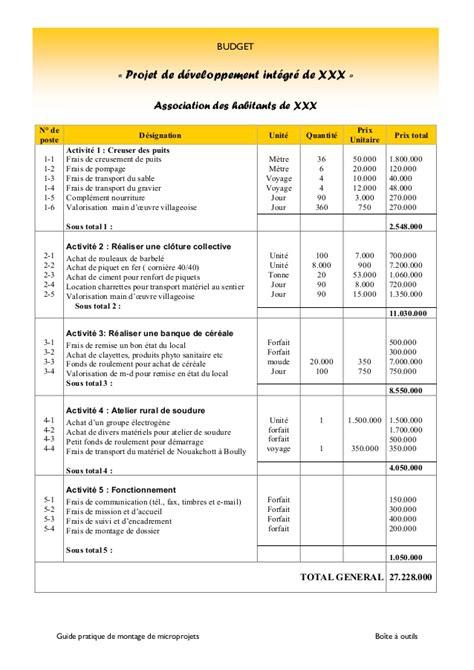 Modã Le Plan D Projet Modele Budget Previsionnel Projet Document