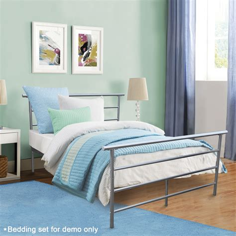 metal frame bed size silver headboard footboard furniture bedroom