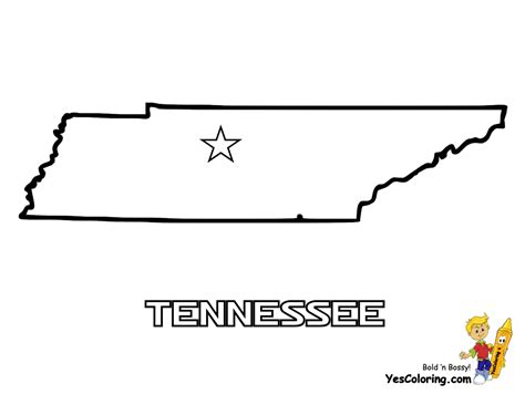 State Of Tennessee Outline by Mighty Map Coloring Pages Tennessee Wyoming Free Maps America Coloring