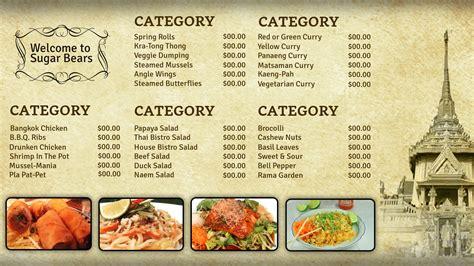 Professional Digital Signage Templates Signagecreator Thai Restaurant Menu Templates Free
