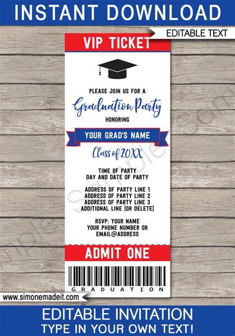 graduation party ticket invitations template grad party