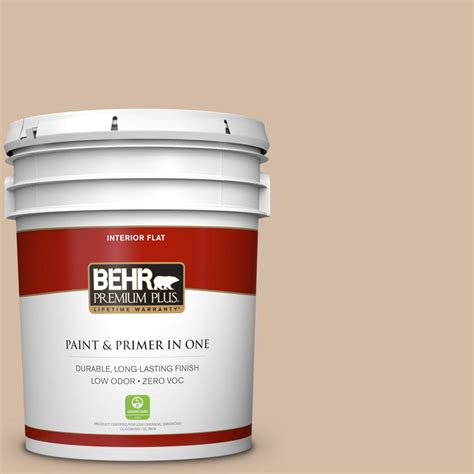 behr premium plus 5 gal 290e 3 classic taupe zero voc flat interior paint 140005 the home depot