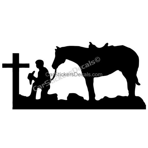 cowboy praying at cross sticker amp decal car stickers decals