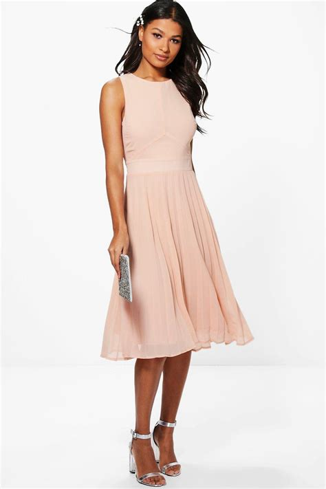 boohoo chiffon pleated skirt midi skater dress in pink lyst