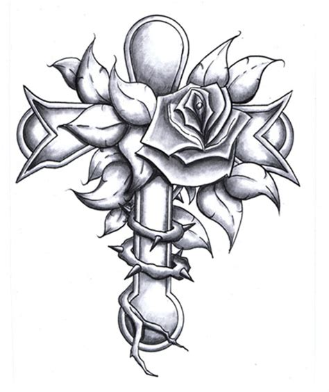 cross with flower tattoo flower and cross design