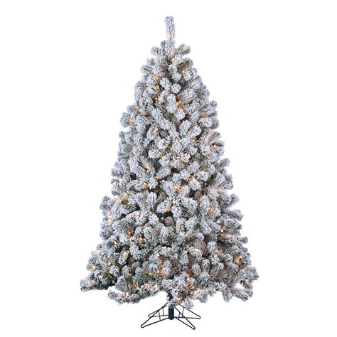sterling nine foot flocked led trees sterling 7 ft indoor pre lit flocked green pvc montana pine artificial tree with 500