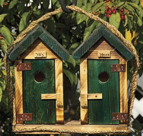 Handmade Birdhouses And Feeders - large his and hers outhouse birdhouses unique and handmade