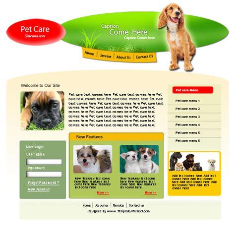 Templates Perfect Free Pet Care Psd Web Template Pet Care Website Templates