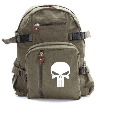 Canvas Travel Backpack White punisher skull heavyweight canvas travel backpack bag ebay