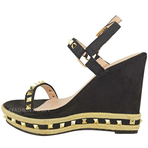 womens studded wedge sandals strappy platforms