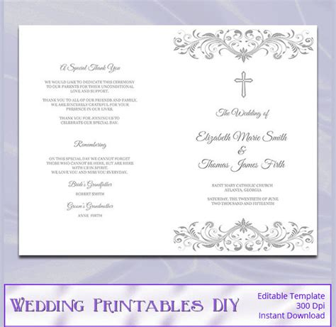 catholic mass wedding program template wedding program template 41 free word pdf psd