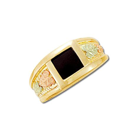 10k black gold mens 8x8mm onyx ring