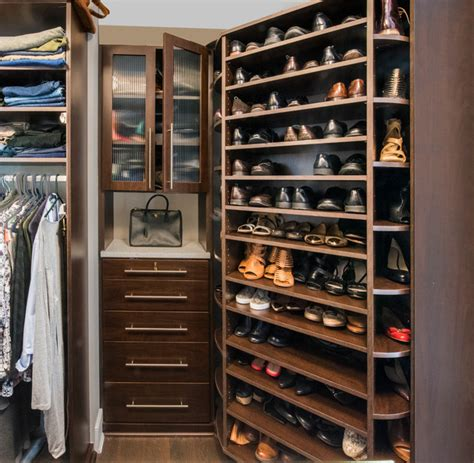 Closet Hutch by The 360 Organizer 174 Shoe Spinner And Custom Closet Hutch With Reeded Glass Doors Modern