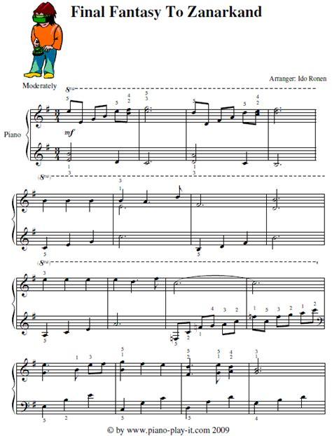 tutorial piano final fantasy to zanarkand piano sheet music pdf images