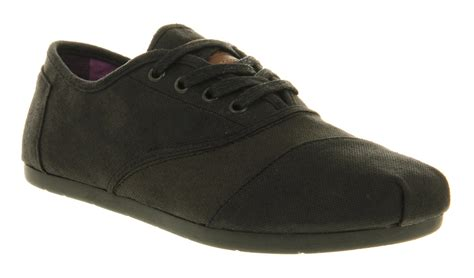 mens toms toms cordones lace black waxed twill casual