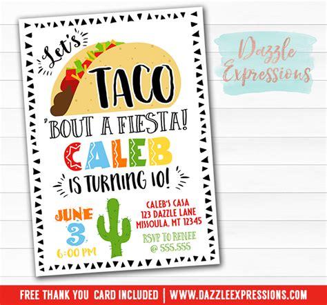 Printable Taco Party Birthday Invitation Any Event Fiesta Taco Bout A Fiesta Party Taco Invitation Template