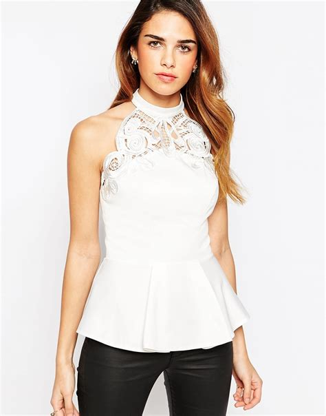 High Neck Lace Top lyst lipsy keegan high neck lace peplum