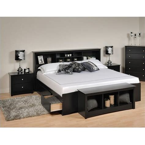 Platform Bed Sets Prepac Sonoma Black King Bookcase Platform Bed 3 Pc Bedroom Set