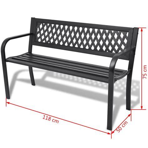 outdoor bench black vidaxl garden bench black steel vidaxl co uk