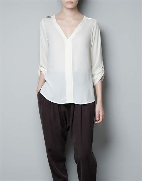 White Zahra zara blouse with studs write mind