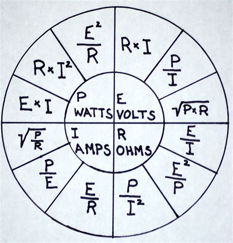 ohm s formula chart it s fairly simpe to use if your trying to find the s and what not it shows you the equations