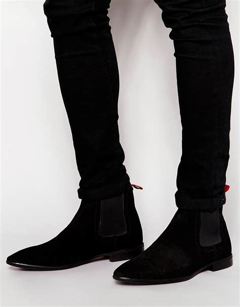 asos chelsea boots in suede in black for lyst
