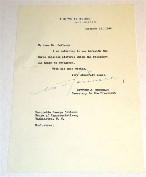 white house letterhead letter to congressman george e outland on a the white