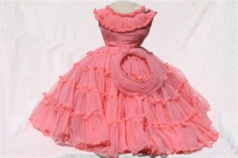 rockabilly vintage bo peep pink nylon ruffled dress