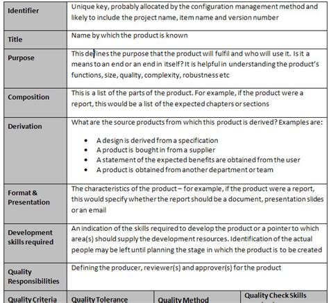 product description template prince2 template free prince2 templates