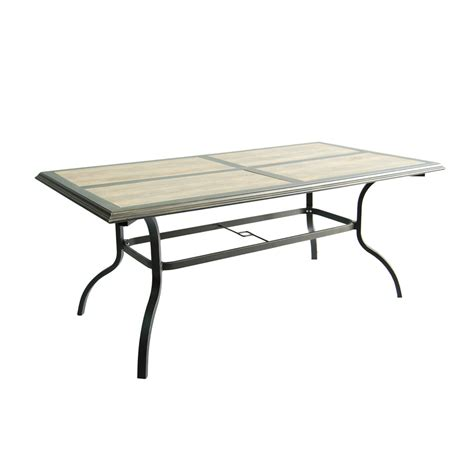 Tile Top Patio Tables Shop Garden Treasures Rollinsford 39 5 In W X 71 In L 6 Seat Bronze Aluminum Patio Dining Table