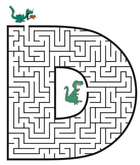 printable dragon mazes free printable maze for kids uppercase letter d