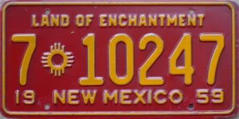 New Mexico The 47th State by Rick Kretschmer S License Plate Archives 1959 U S