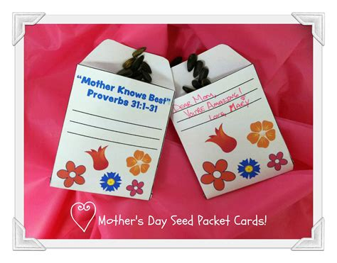 day activity ideas s day crafts s day seed packet cards pink