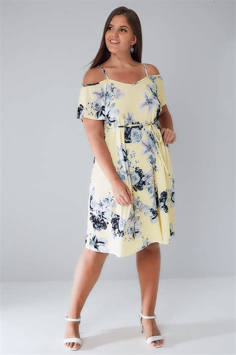 yellow grey floral cold shoulder jersey cami dress with waist tie plus size 16 to 36