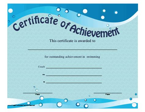 templates for swimming certificates free this printable certificate of achievement features blue