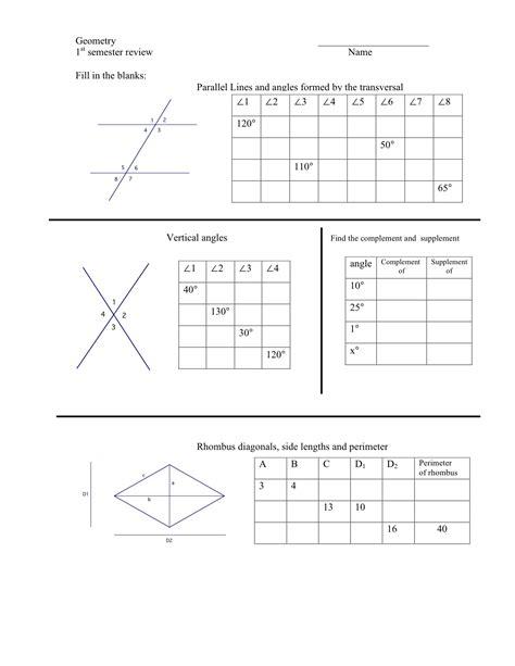 Geometry Review Worksheets by Geometry Semester Review Worksheet Mrmillermath