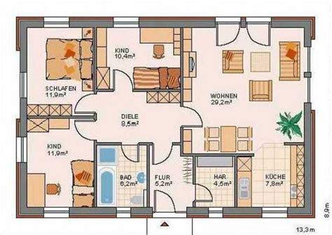 4 Zimmer Bungalow Grundrisse by Bungalow 4 Zimmer Grundriss