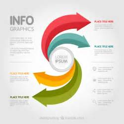 Arrow Templates Free by Infographic Template With Colored Arrows Vector Free