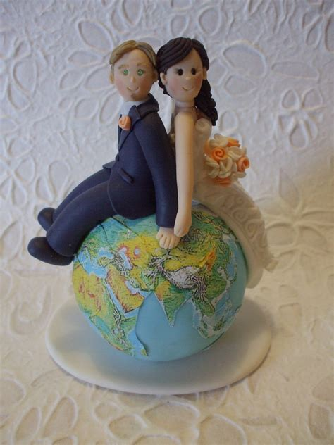 Handmade Wedding Cake Toppers - custom and groom travel wedding cake by abracadabrakr
