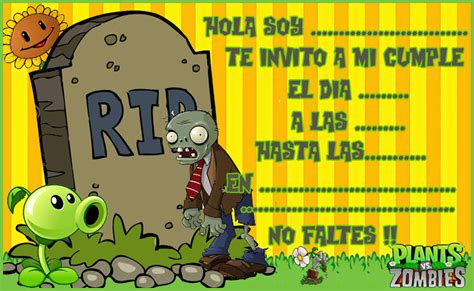 Pvz Heroes Empty Card Template by Invitacion Tarjetita Bar Plantas Vs Zombis Kit