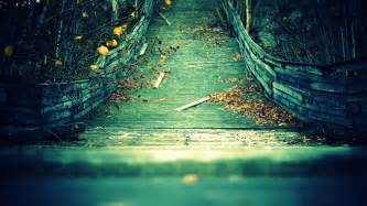 the wooden bridge with yellow foliage hd desktop