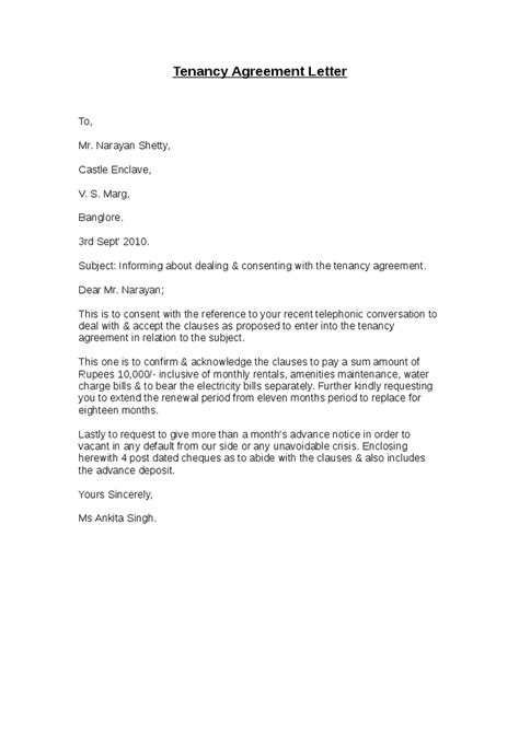 Tenancy Agreement Letter From Landlord Sle Tenancy Agreement Letter Hashdoc