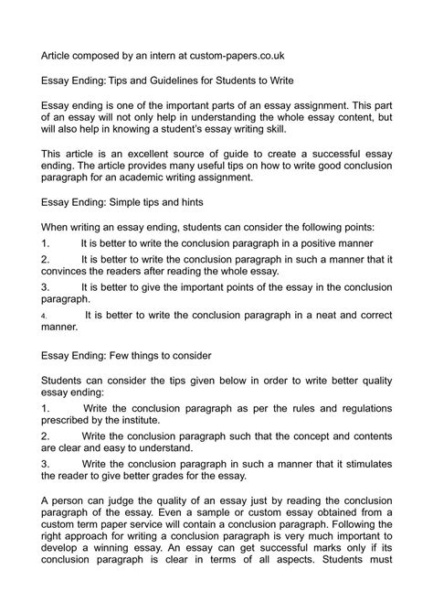 Closing Essay by Calam 233 O Essay Ending Tips And Guidelines For Students To Write