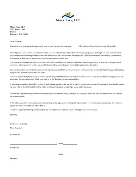 Tax Engagement Letter