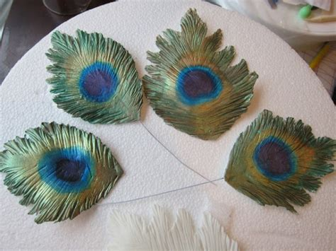 How To Make Peacock Feather With Paper - gumpaste peacock feather tutorial cakecentral