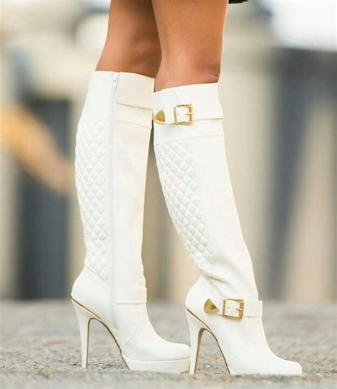 white high heeled boots white high heel boots