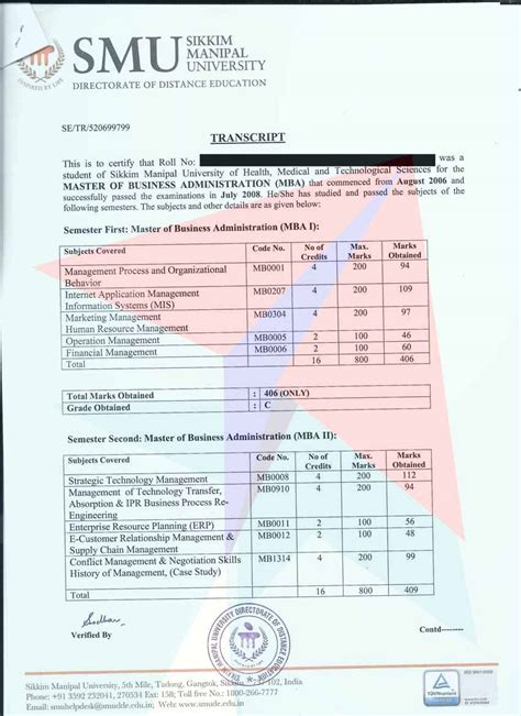 Smu Mba Marksheet by Sikkimmanipaltranscripts Getting Transcripts Made Fast