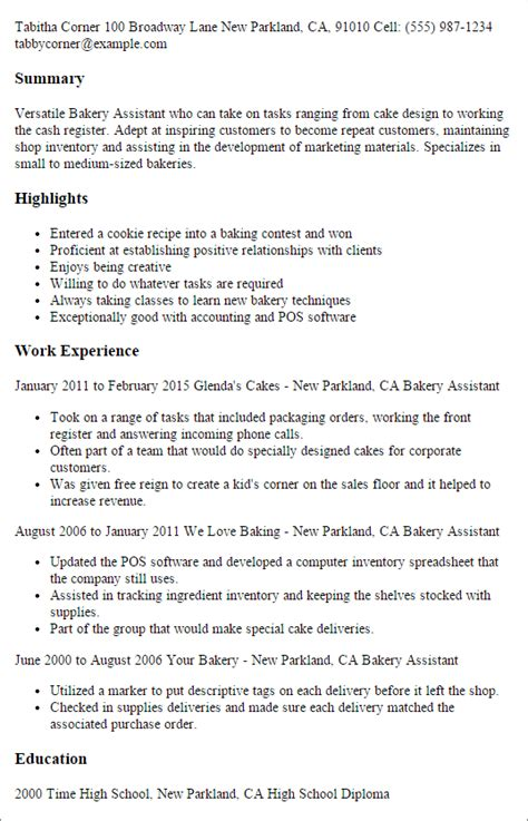 sample resume for bakery job professional bakery assistant templates to showcase your
