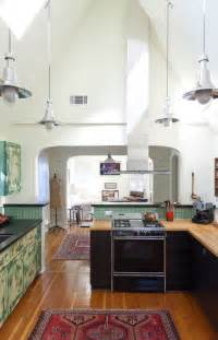 railroad era pendant lighting for high ceiling kitchens